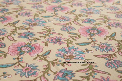 Indian King Size Beige Floral Block Print Bedspread Bed Sheet With 2 Pillow Case
