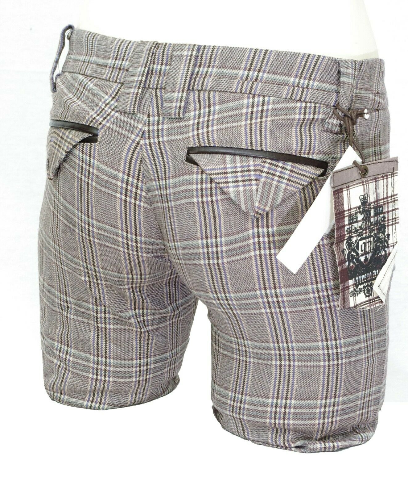 Détails sur FREEMAN bermuda carreaux femme LEVEL SHORT violet beige gris