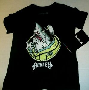 NEW Hurley short sleeve t shirt boys  2T white with seagull or monkey surfer