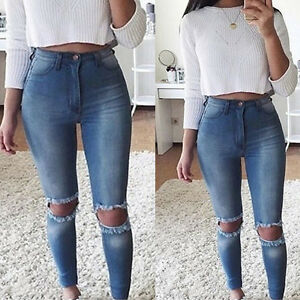 bright n colour 2019 hot sale sale Details about Women Denim Pants Ripped Knee Cut Jeans Faded Slim Fit Ladies  Skinny Leggings