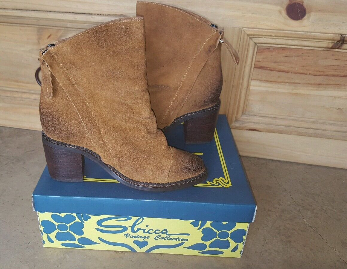 Sbicca  Millie  Tan Leather Suede Ankle Boots booties Wmns. size 7M New W Box