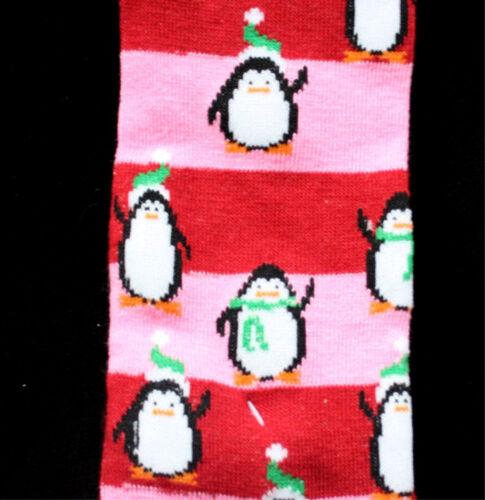 Christmas Novelty PENGUIN STRIPE KNEE SOCKS Holiday Pink Rockabilly Lolita-ADULT