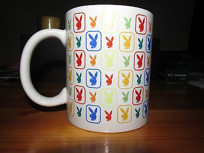 Playboy Bunny White Ceramic Coffee Mug Colorful Rainbow Pattern *NICE CONDITION*