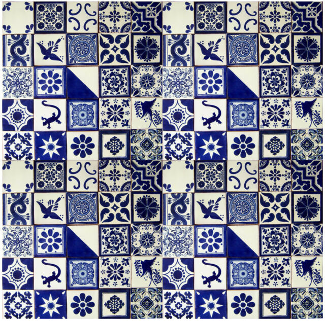 "100 MEXICAN TALAVERA  TILE 4x4""  FOLK ART BLUE & WHITE DESIGNS HANDMADE"