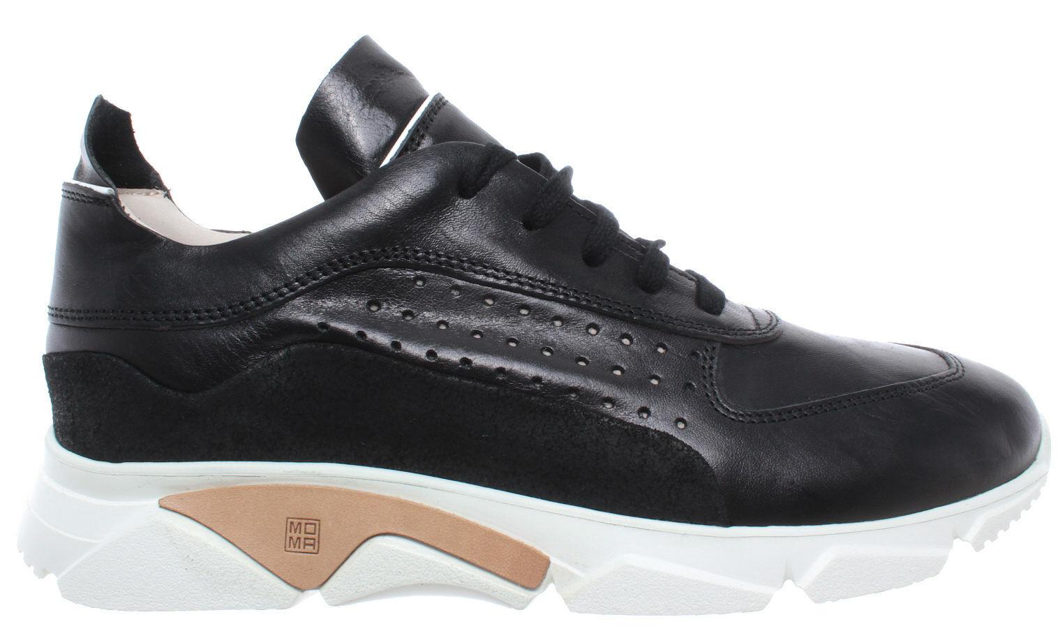 Moma zapatos caballero zapatillas 12901-aa Florence negro cuero negro Made in