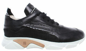 MOMA-Chaussures-Baskets-Pour-Hommes-12901-AA-Florence-Nero-Cuir-Noir-Made-In-Italy-Nouveau