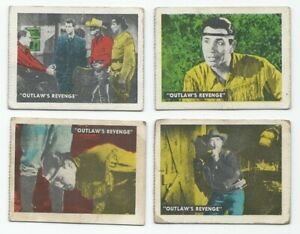 "Vintage 1950's The Lone Ranger 1950 Ed-U-Cards Lot of 4 - ""Outlaw's Revenge"""