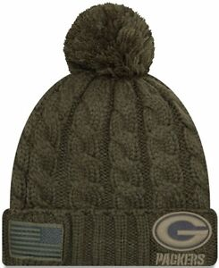 4bc51d3613c Women s Green Bay Packers 2018 Salute to Service Cuffed Pom Knit Hat ...
