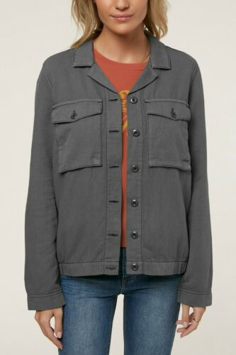 Button Military Small Charcoal Solid Briley Jacket Ny Front Womens O'neill SxtRXq00
