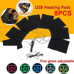 Winter-8Pcs-USB-Electric-Cloth-Heater-Pads-Heating-Thermal-Jacket-Vest-Warmer