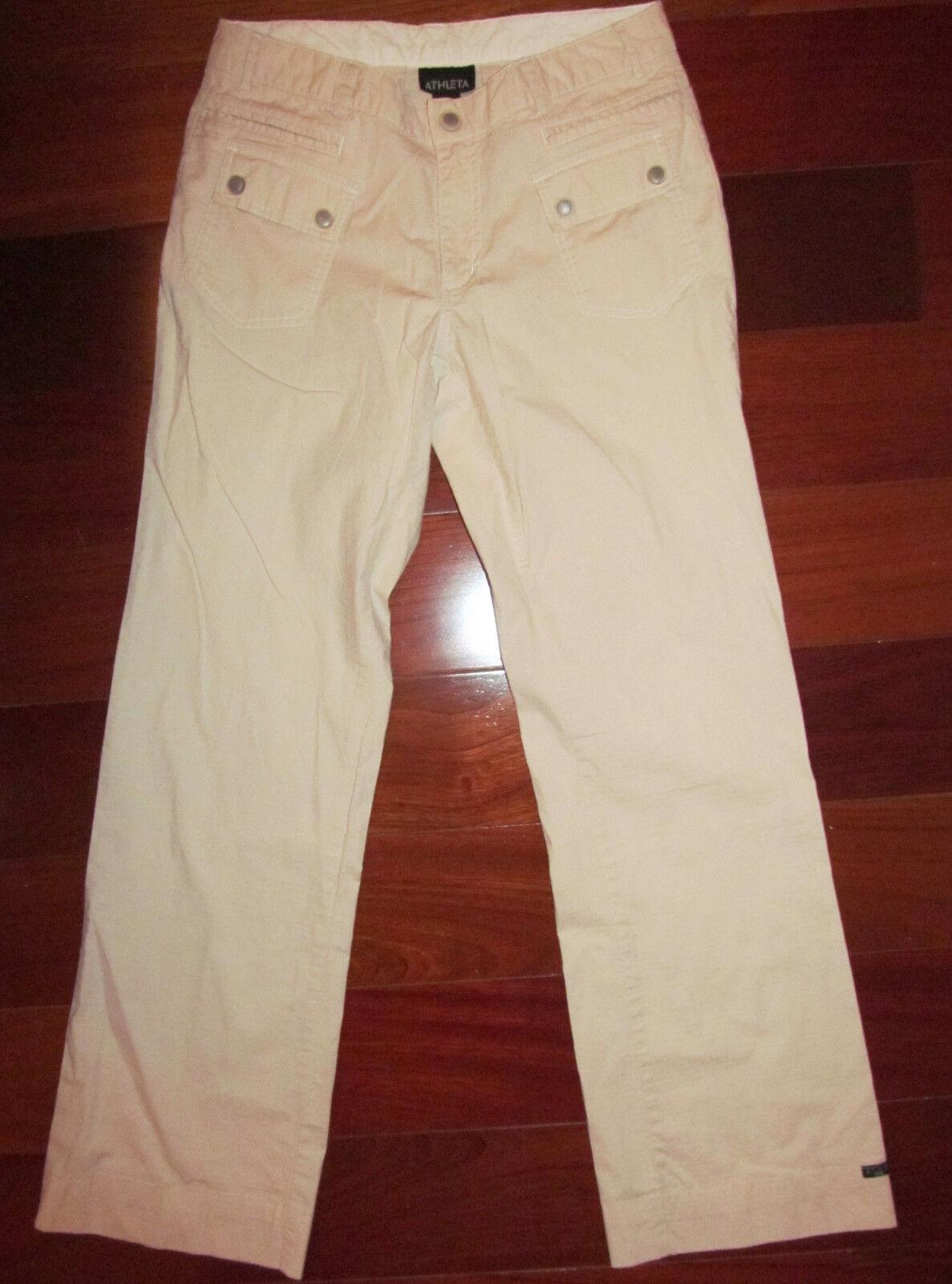 ATHLETA tan khaki cream lightweight nylon feel cargo boot cut pants 6