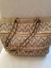 ADORABLE Carry-on TOTE BAG ~ Canvas and woven raffia ~ JESSICA SIMPSON - WOW!!