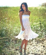 Women's White Crochet Convertible Cover Up Summer Dress Beach Skirt Large 14/16