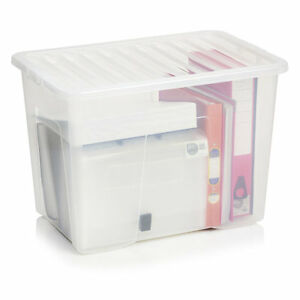 Image is loading 80-LITRE-PLASTIC-STORAGE-BOXES-LARGE-MULTIPLE-PACKS-  sc 1 st  eBay & 80 LITRE PLASTIC STORAGE BOXES LARGE- MULTIPLE PACKS - BLACK/CLEAR ...