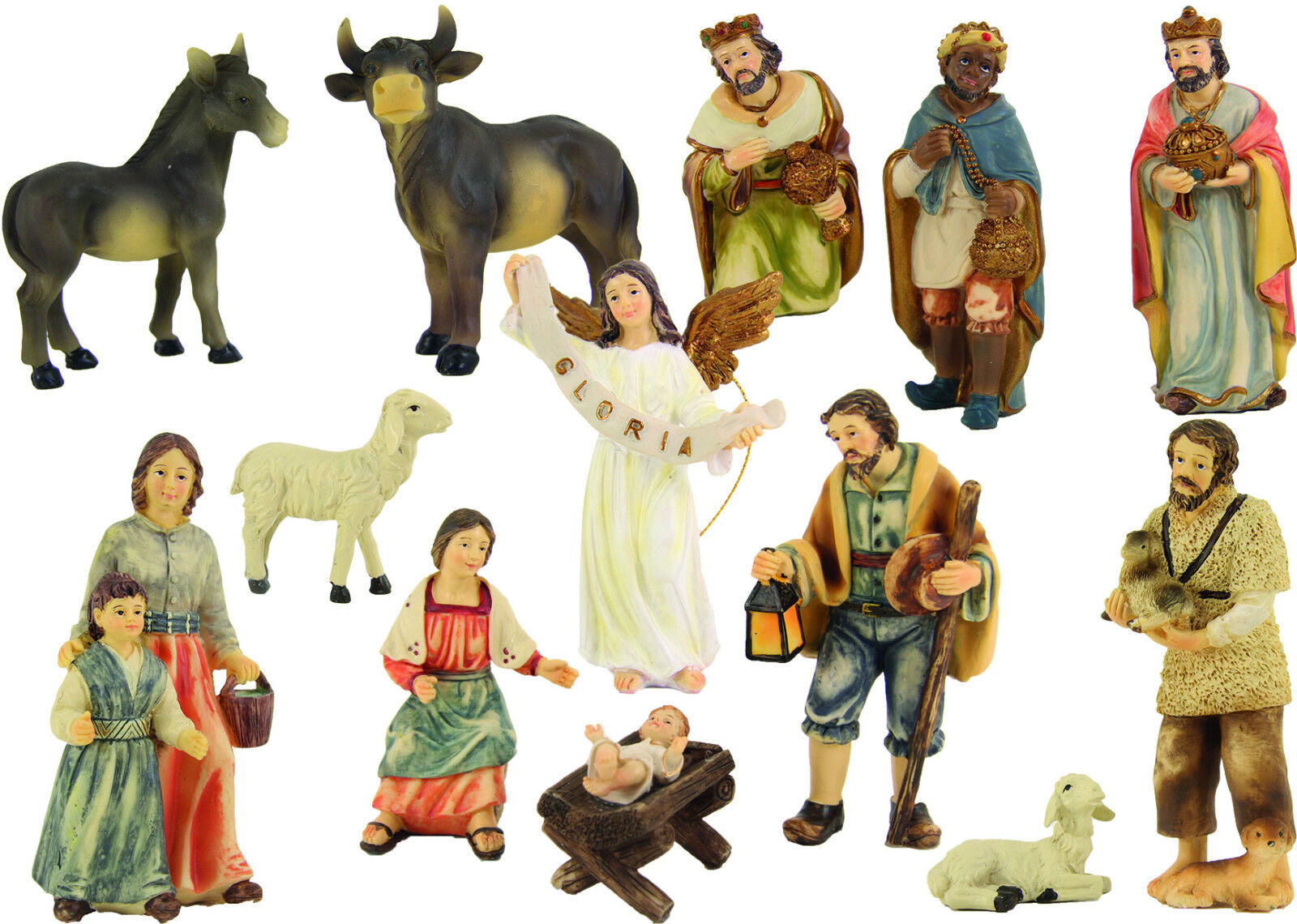 Weihnachtskrippe Krippenfiguren Bauernkrippe 13-teilig 13-teilig 13-teilig Figurengröße 10 cm fcea5b