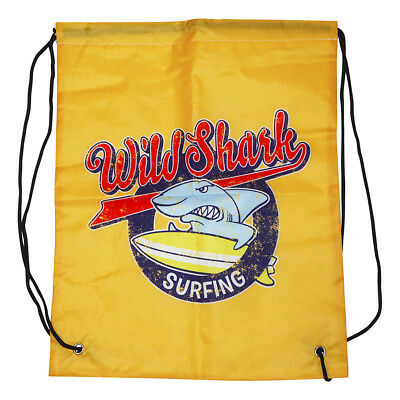 Shark Kids Boys Drawstring Backpack Gym Bag String Cinch Cloth Fabric Print Ebay