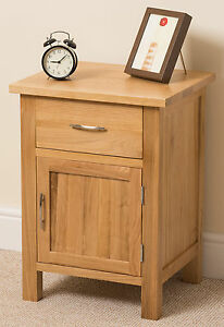 Boston Solid Oak Small Bed Side Table Unit 1 Drawer 1 Door Bedroom