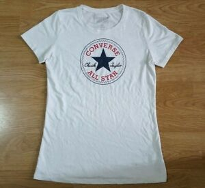 Converse-All-Star-T-Shirt-Homme-Manches-Courtes-Femme-Blanc-Taille-M