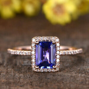 2-75Ct-Emerald-Cut-Tanzanite-Wedding-Engagement-Ring-14k-Rose-Gold-Finish