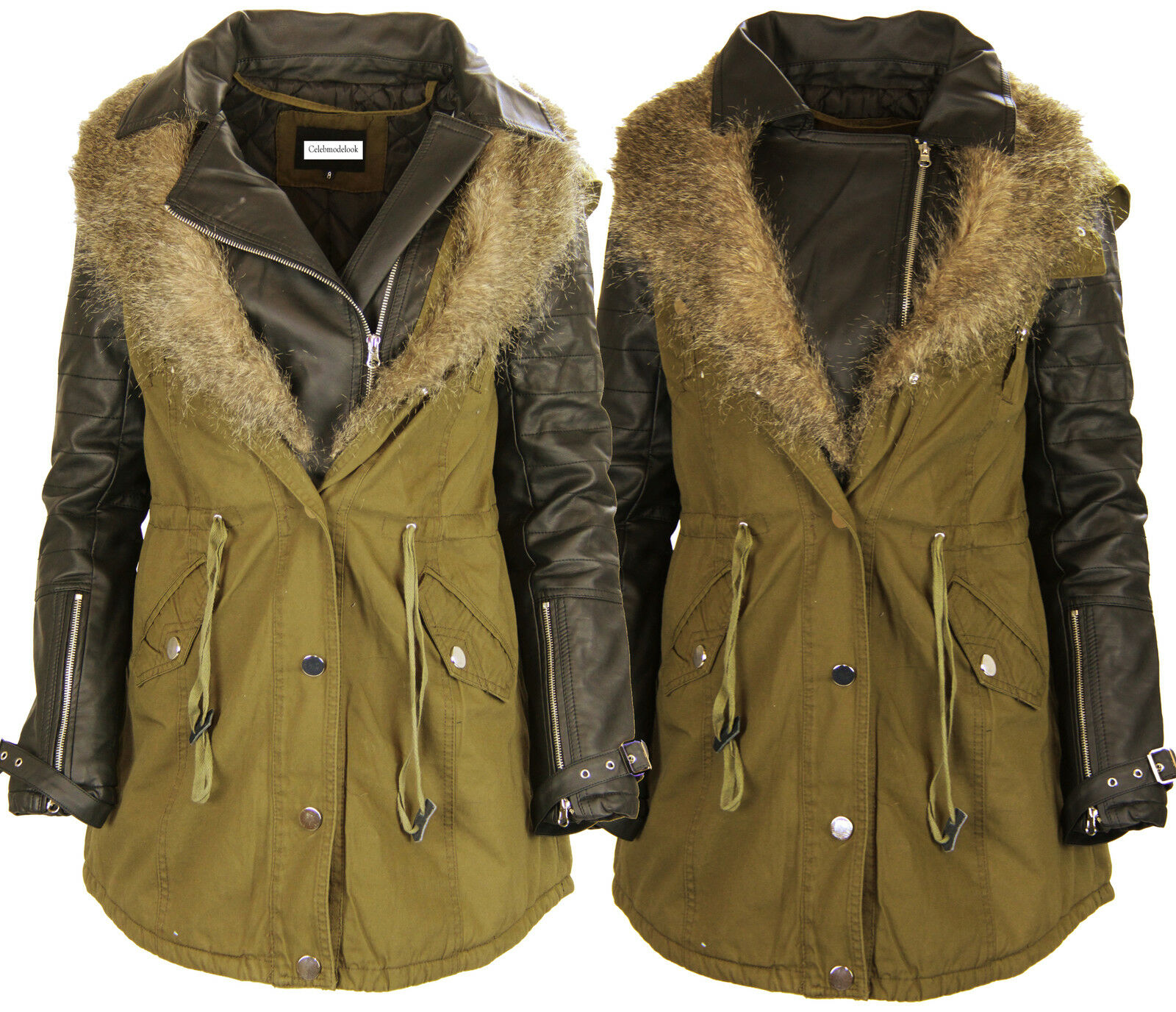 J84 nuova linea donna in finta pelliccia con cappuccio Parka Signore PLUS Dimensione PVC Fishtail a coda Cappotto Giacca