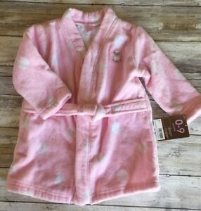 NWT-Carter-039-s-Infant-Baby-Girl-Bathrobe-Pink-with-white-dots-Size-0-9-months