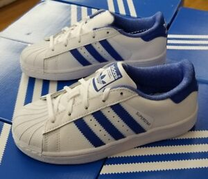 best website 51e62 01afa Details about ADIDAS SUPERSTAR C WHITE / BLUE / ROYAL CQ2735 PRESCHOOL