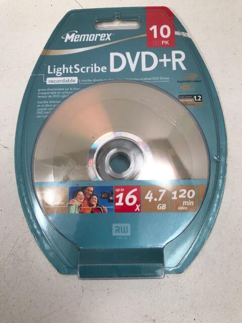 Memorex LightScribe DVD+R 10 Pack New, 4.7 GB 120 Minutes Video 16X