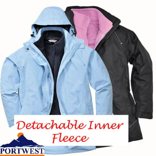 Giacca Impermeabile Da Donna Cappotto 3in1 con all'interno in pile caldo Taglia Portwest S571
