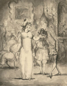 Harold Hope Read (1881-1959) - Signed Pen and Ink Drawing, Society Ball