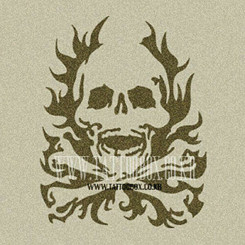 Reusable airbrush temporary tattoo stencil Over 100 Designs Flaming Skull