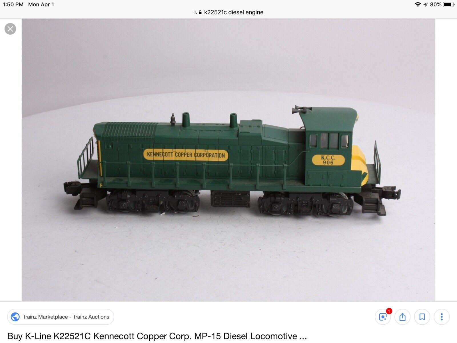 K-Line Calibre 0 027 K-22521C MP15 motor diesel de cobre Kennecott en Caja Original