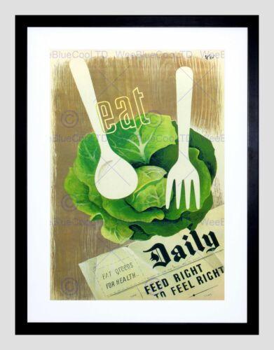 HEALTH FOOD VEGETABLES WAR SECOND WORLD UK VINTAGE ADVERT FRAMED PRINT B12X1185