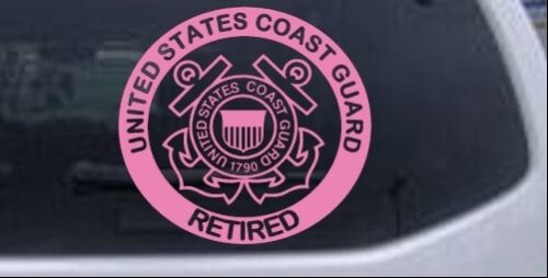 United States Coast Guard Retired Car Truck Window Decal Sticker Pink 6X5.6