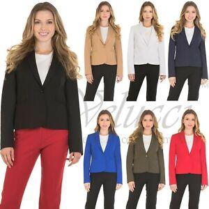 Womens-Classic-Basic-Blazer-Jacket-Slim-One-Button-Full-Lining-Long-Sleeve