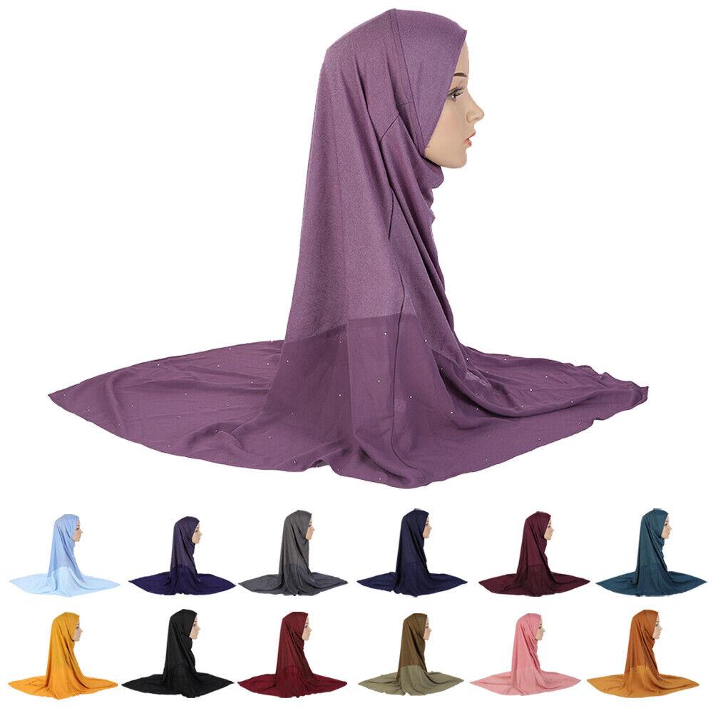 Muslim Women Chiffon Splicing Hijab Long Scarf Turban Amira Shawl Khimar Prayer