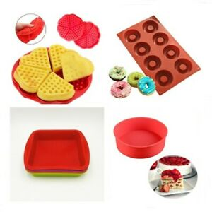 Silicone Rectangle Waffles Pan Cake Baking Mould Mold Waffle Red Tray T