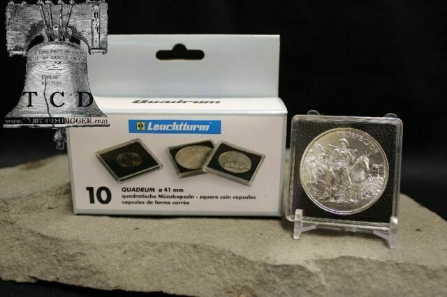 50 Lighthouse Quadrum 39mm Square Coin Capsules US 1oz Silver Round Holders