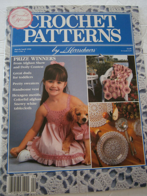 April 1990 Crochet Pattern Back Issue Magazine Afghan Doily  Dress Tablecloth