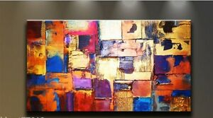 Huge-canvas-NO-frame-Modern-Abstract-multicolor-Art-Oil-Painting-Wall-Decor