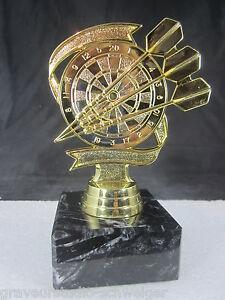 1x-Dart-Pokal-Pokale-14-cm-hoch-inkl-Gravur-Spicker-Trophaee-gold