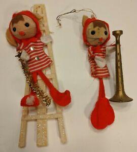 Lot-of-2-Vtg-Felt-Christmas-Ornaments-Decorations-Mice-Handmade-Large