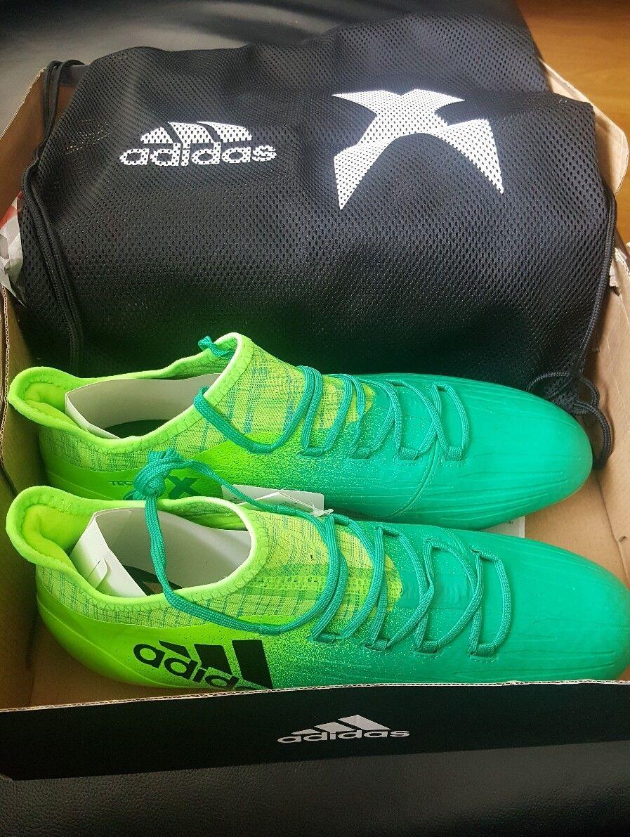 Adidas X 16.1 FG para Hombre botas de fútbol, verde Versol negbas verbas Talla 10 Reino Unido