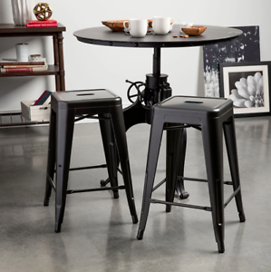 Tremendous Details About New Set Of 2 Charcoal Grey Metal Kitchen Counter Height Dining Room Bar Stools Theyellowbook Wood Chair Design Ideas Theyellowbookinfo