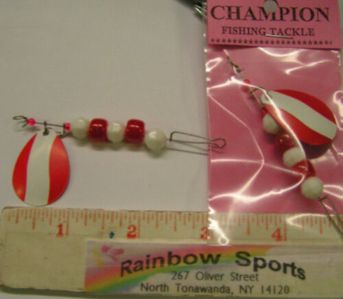 RS CHAMPION BUMBLE-BUG #4 COLORADO SINGLE BLADE DRIFTING SPINNER RED//WHITE 2