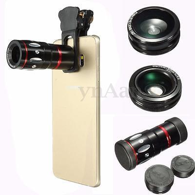 4-in-1 Universal Clamp Camera Telephone Wide Angle Macro Fisheye Lens For iPhone