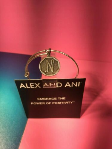 Details about  /Alex and Ani Inital N Letter Bangle in Silver