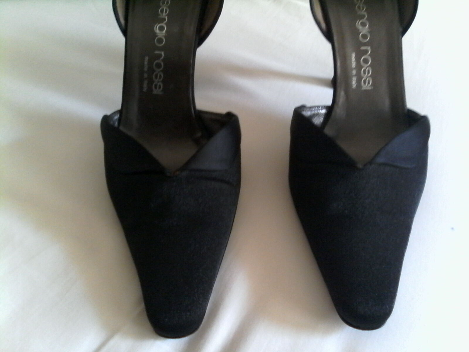 SERGIO ROSSI  BLACK FABRIC AND SATIN SHOE SIZE 9 FABULOUS