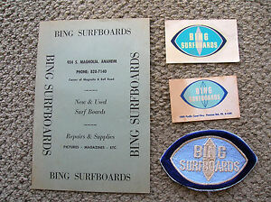 Image Is Loading Vintage Bing Surfboard Patch Price List Card Decal