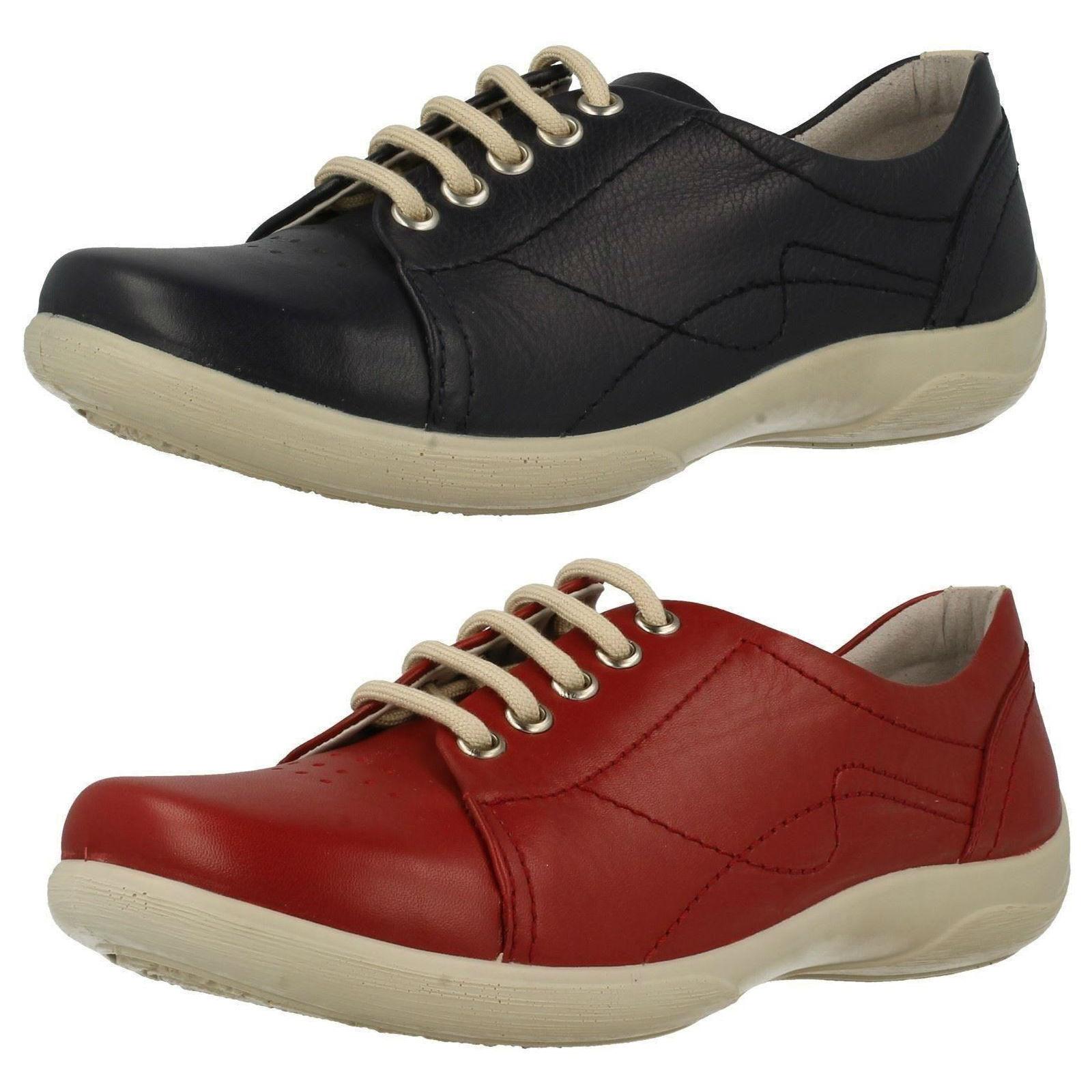 Casual salvaje Padders Mujer Cordones Cuero Rojo Corte Ancho Zapato