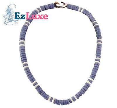 "18/"" Puka Shell Chip Necklace Blue//White Surfer Choker"